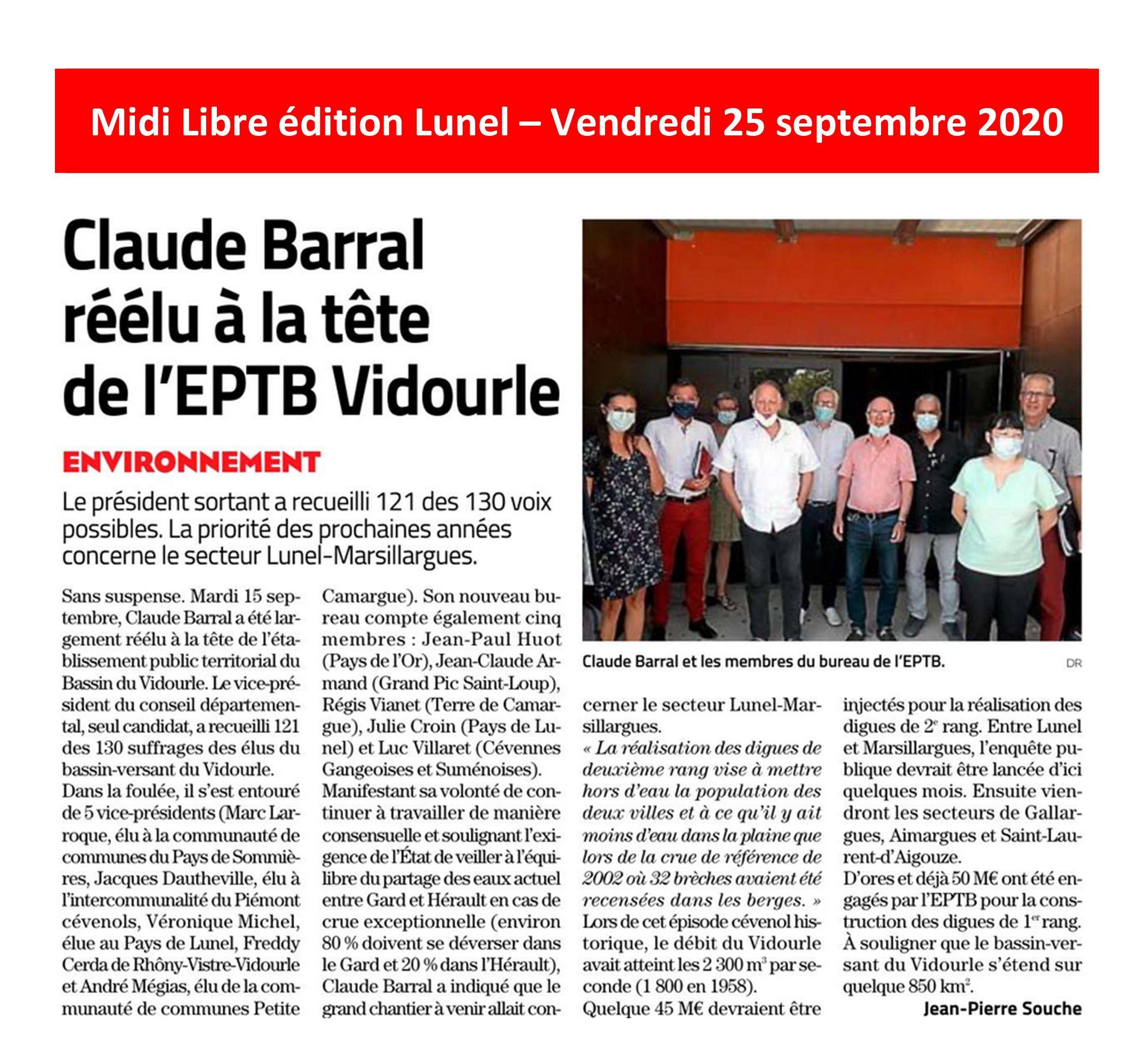 Claude BARRAL réélu à la tête de l'EPTB Vidourle