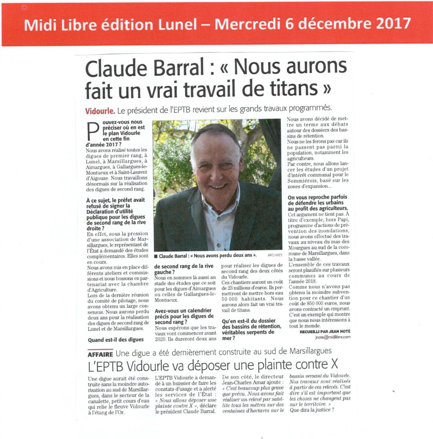 Le Président de l'EPTB Vidourle revient sur les grands travaux programmés