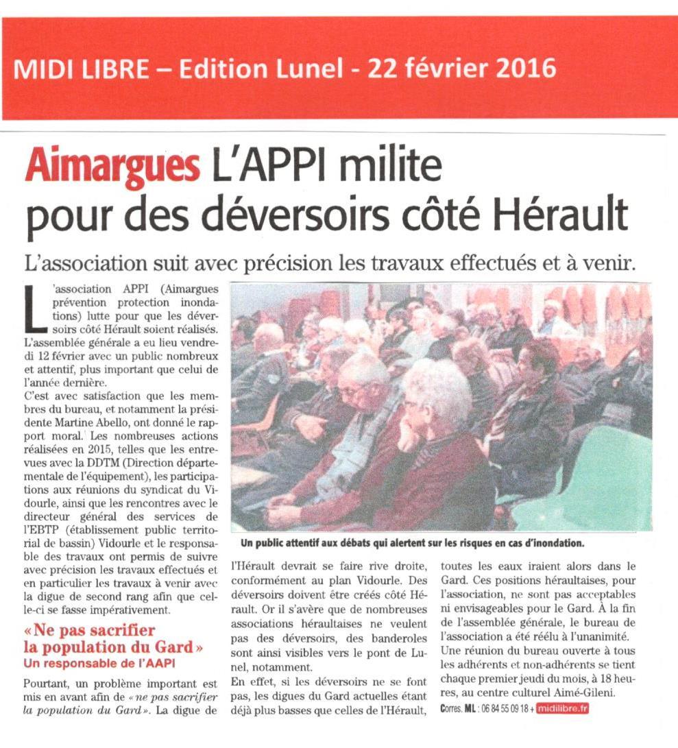 L'APPI défend les déversoirs côté Hérault