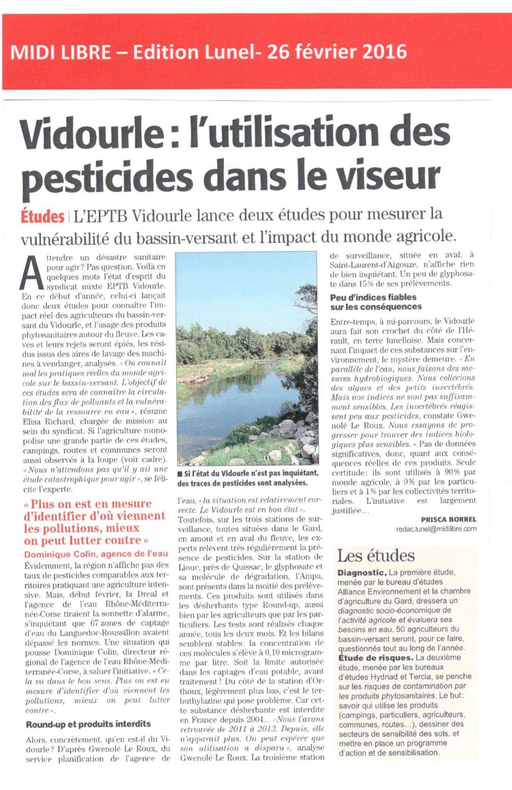 Vidourle poursuit sa lutte contre l'utilisation des pesticides