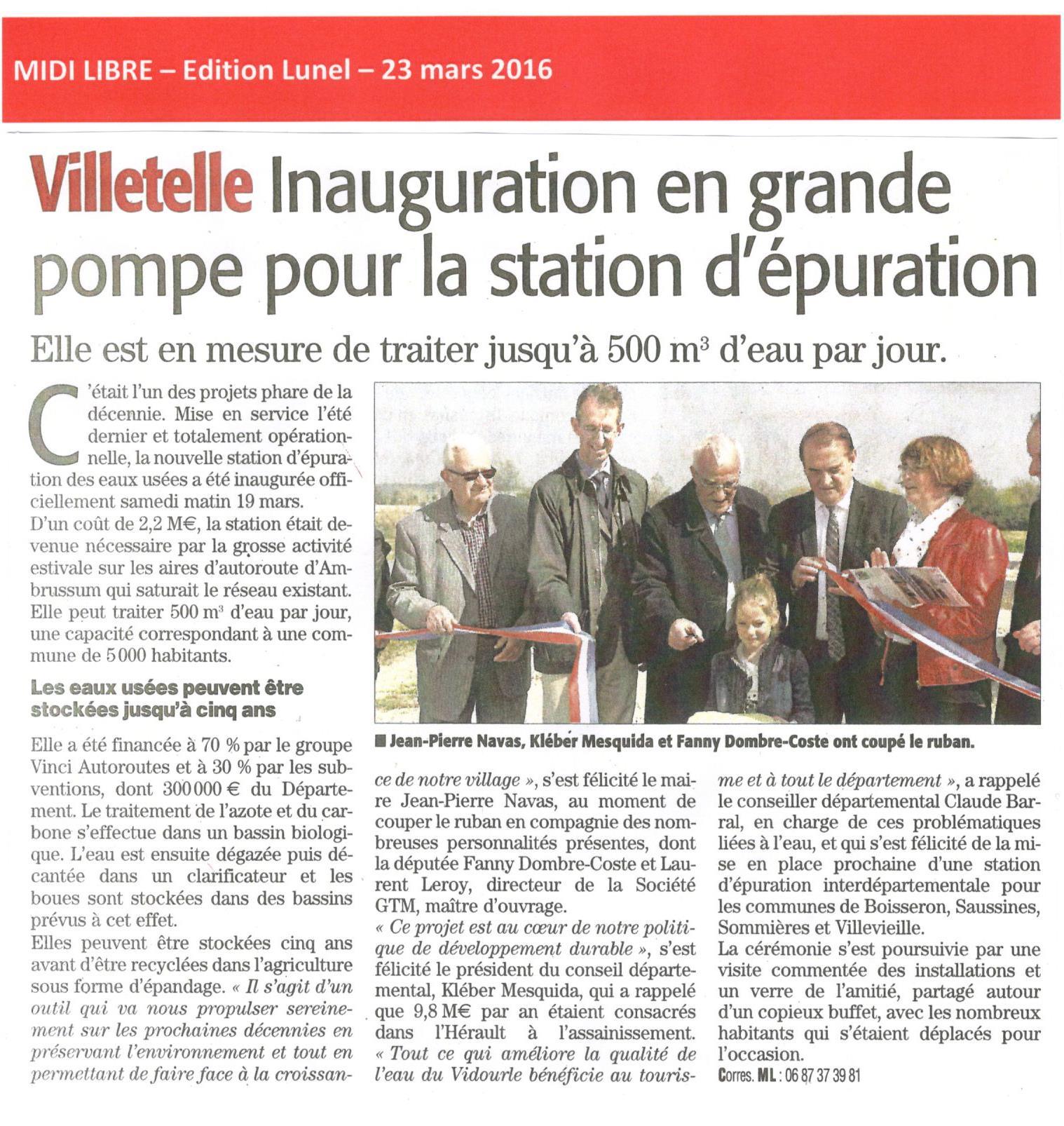 Villetelle – Inauguration de la station d'épuration