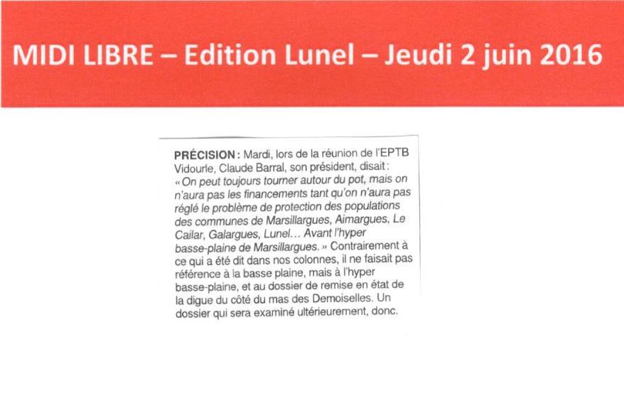 Plan Vidourle : précision de Claude BARRAL, Président de l'EPTB Vidourle