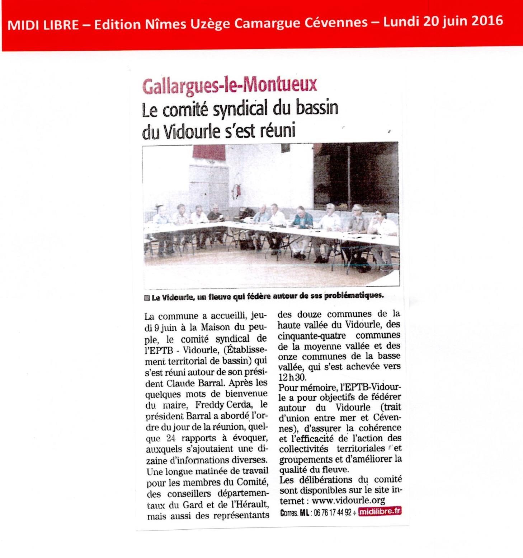 Le comité syndical de l'EPTB Vidourle s'est réuni le 9 juin 2016 à Gallargues le Montueux