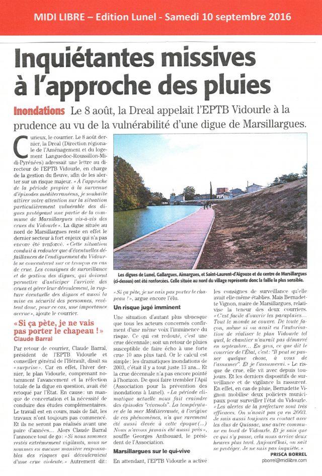 29 - Midi Libre - 10 septembre 2016