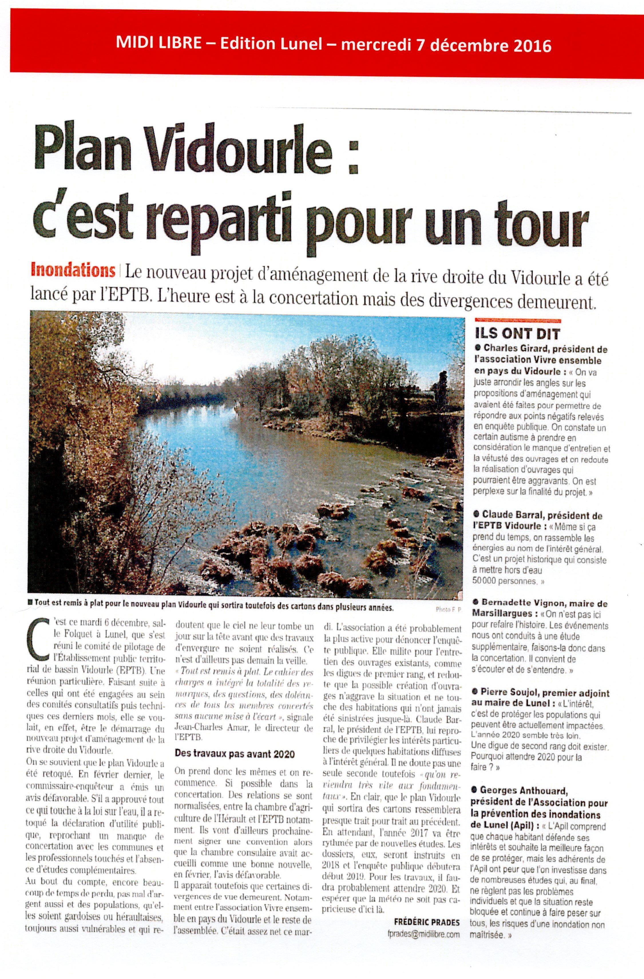 Le nouveau projet d'aménagement de la rive droite du Vidourle a été lancé par l'EPTB