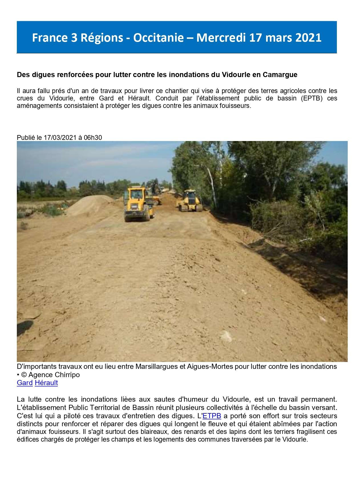 Des digues renforcées pour lutter contre les inondations du Vidourle en Camargue