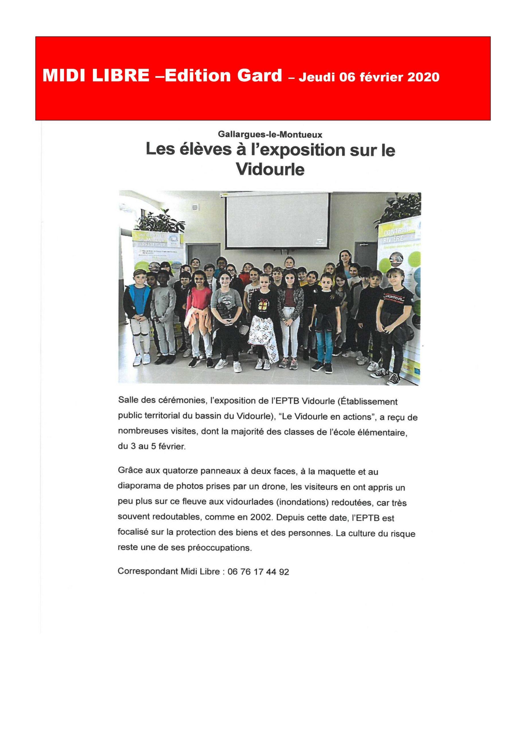 Les élèves à l''exposition « Le Vidourle en actions »