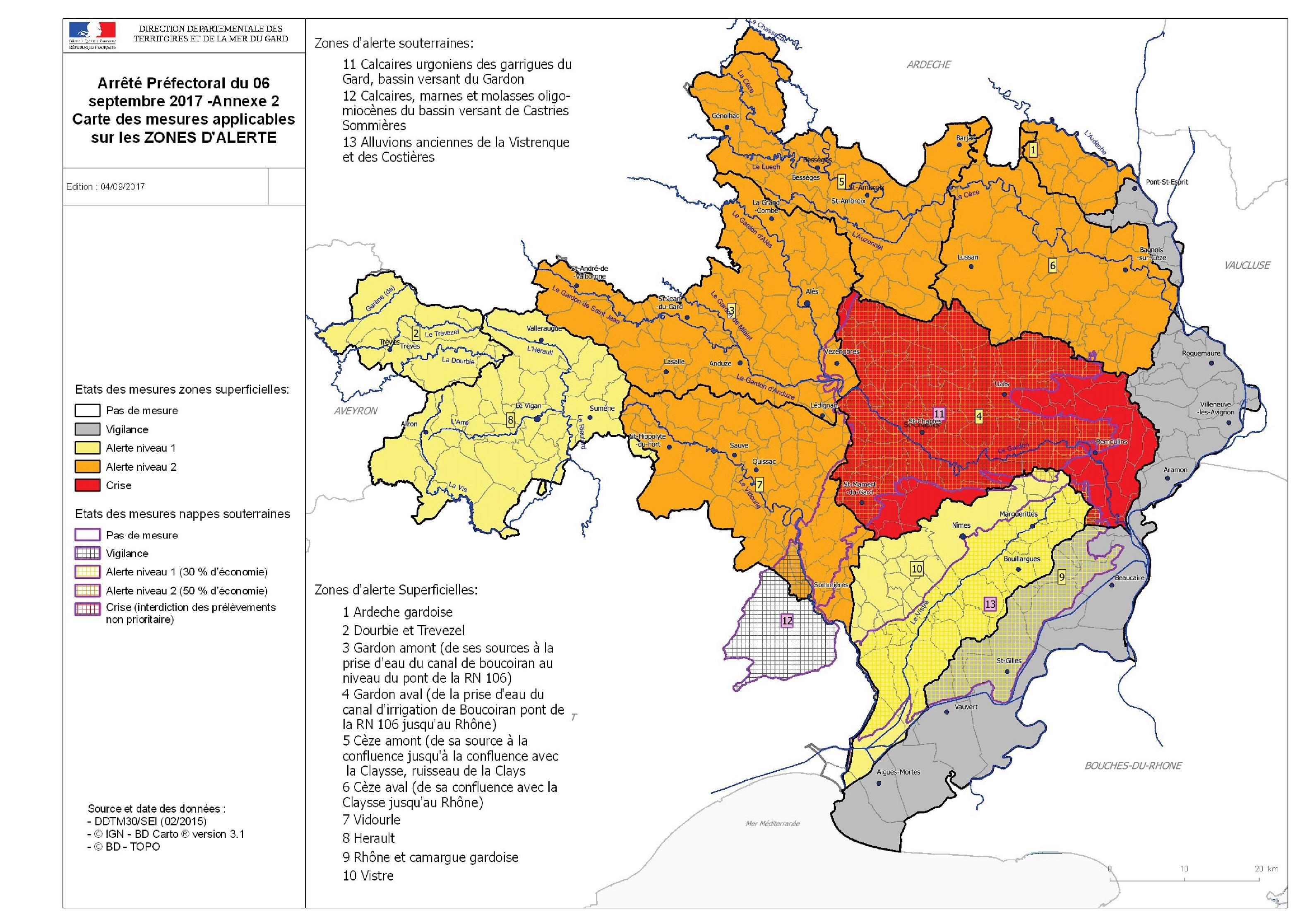 La sécheresse s'aggrave : le bassin Vidourle passe en alerte de NIVEAU 2