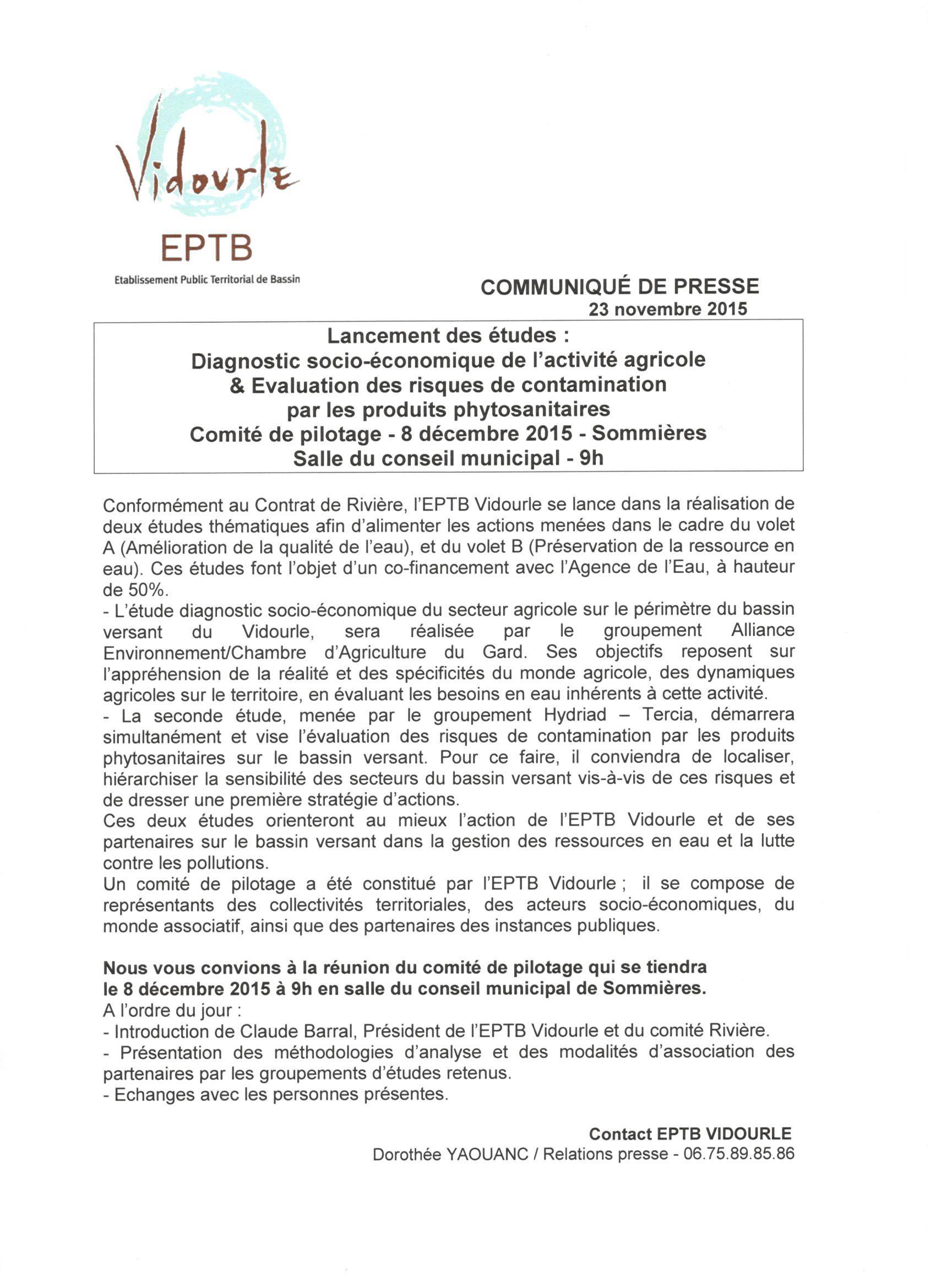 Comité de pilotage – 8/12/2015 – Sommières – Lancement des études : Diagnostic socio-économique de l'activité agricole & évaluation des risques de contamination par les produits phytosanitaires
