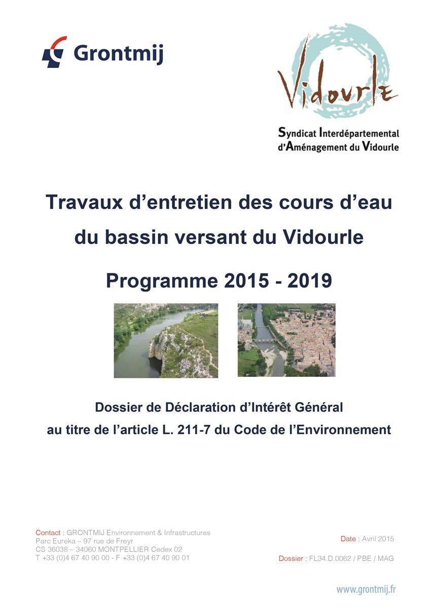 Travaux d'entretien des cours d'eau du Vidourle : Le dossier DIG  est consultable !!!