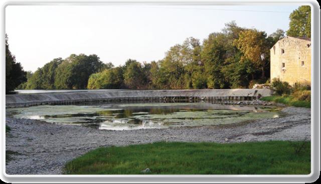 Seuil du Moulin d'Aubais à l'étiage
