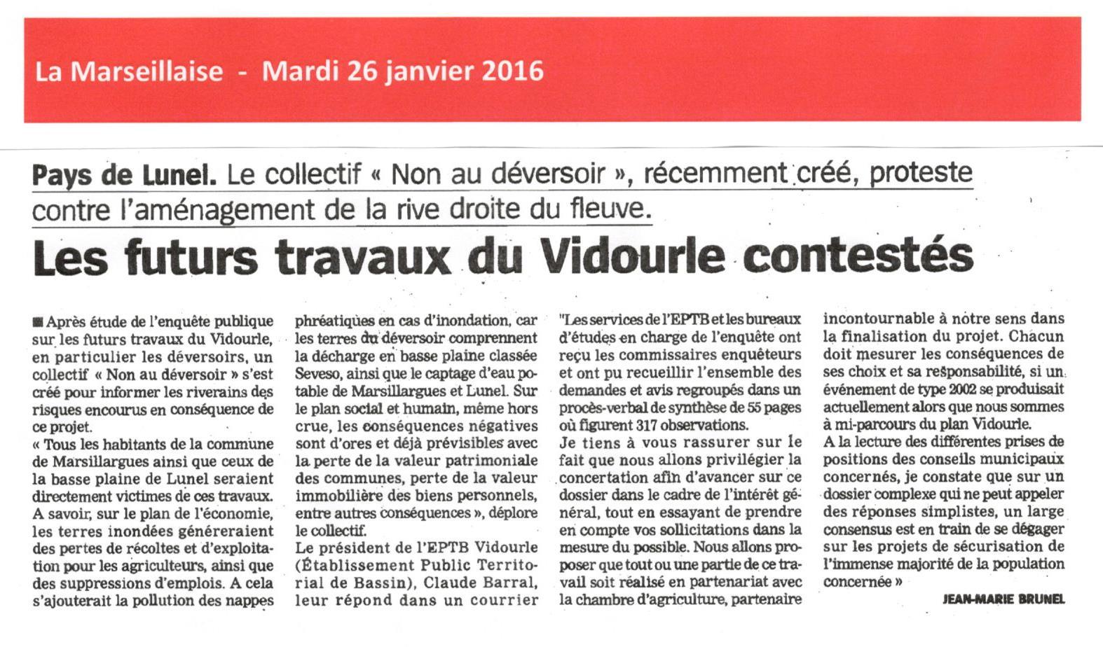 Le Président de l'EPTB Vidourle, Claude BARRAL tient à rassurer la population sur les futurs travaux du Vidourle