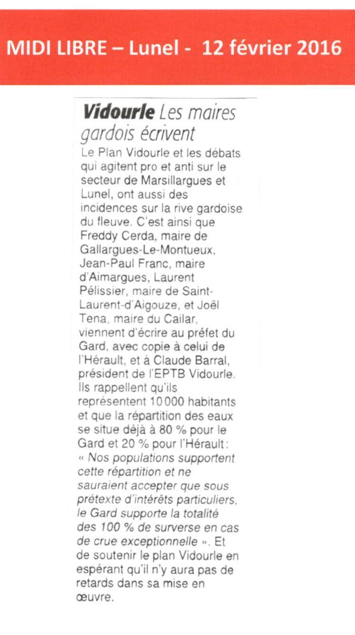 Les maires gardois écrivent au Préfet du Gard et soutiennent le Plan Vidourle