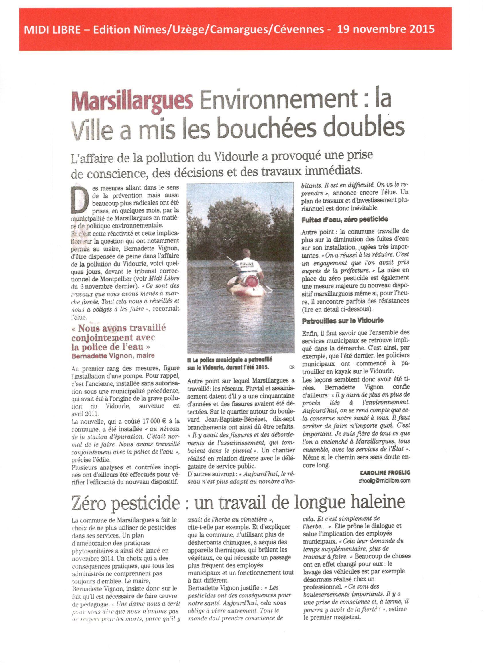 Marsillargues : une commune engagée contre la pollution du Vidourle et pour un avenir sans pesticides