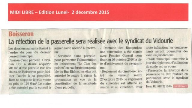 Midi Libre -  2 décembre 2015