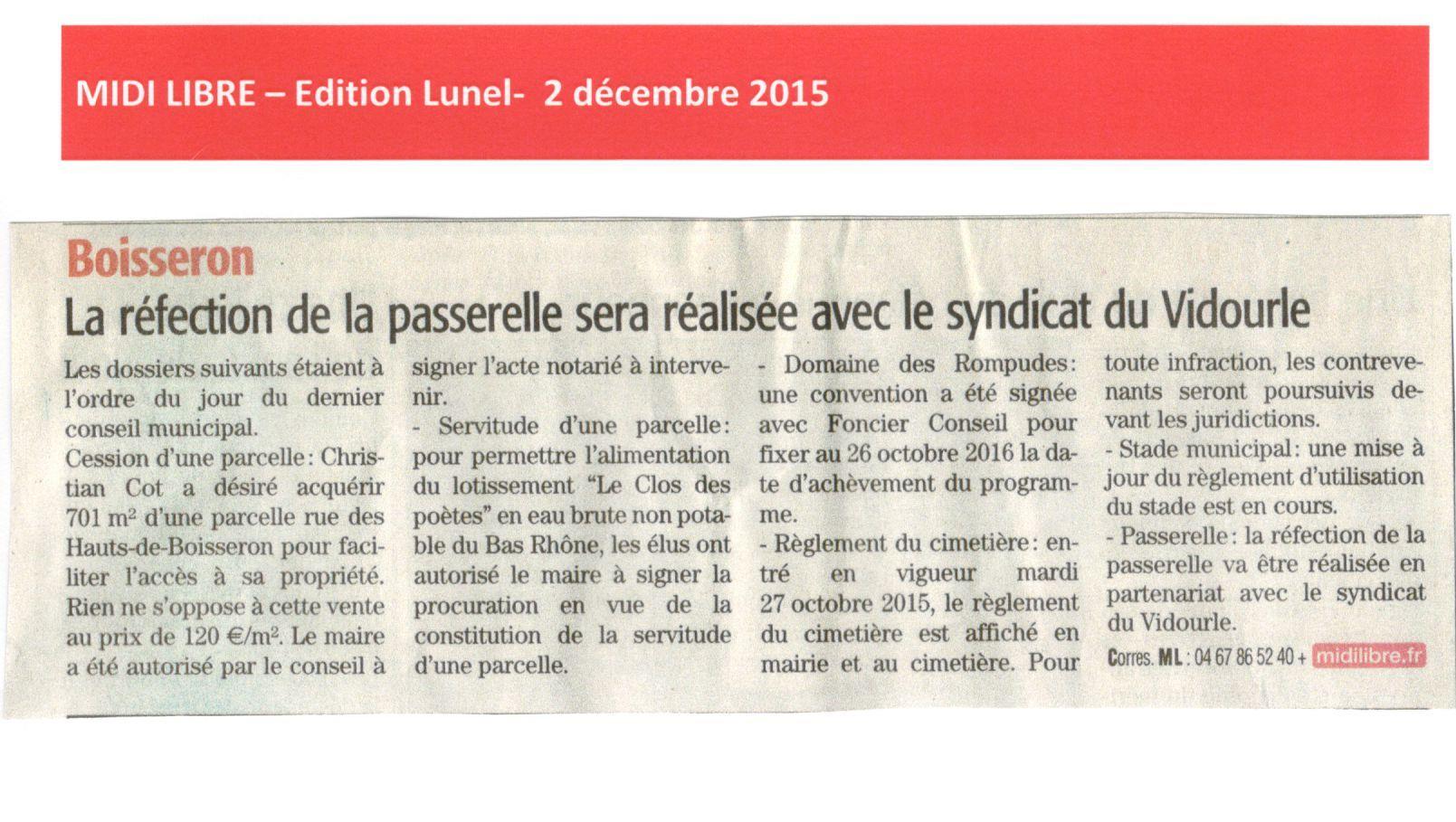 La réfection de la passerelle de Boisseron sera réalisée avec le Syndicat du Vidourle