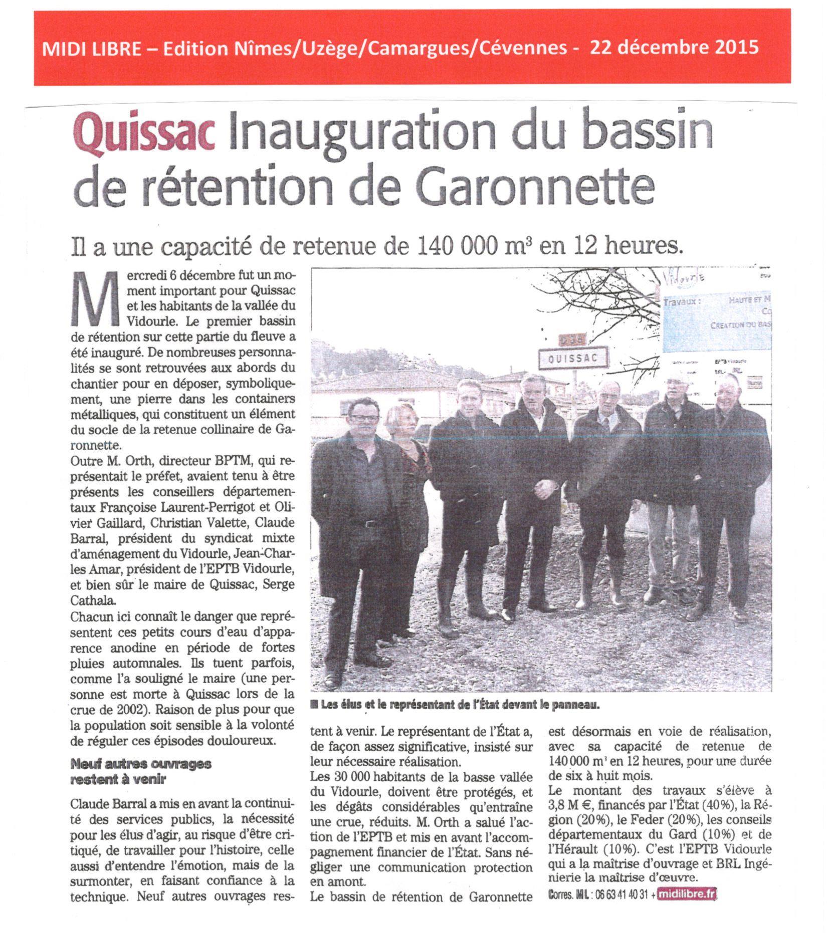 Inauguration du bassin de rétention de Garonnette, le premier sur cette partie du fleuve Vidourle à Quissac
