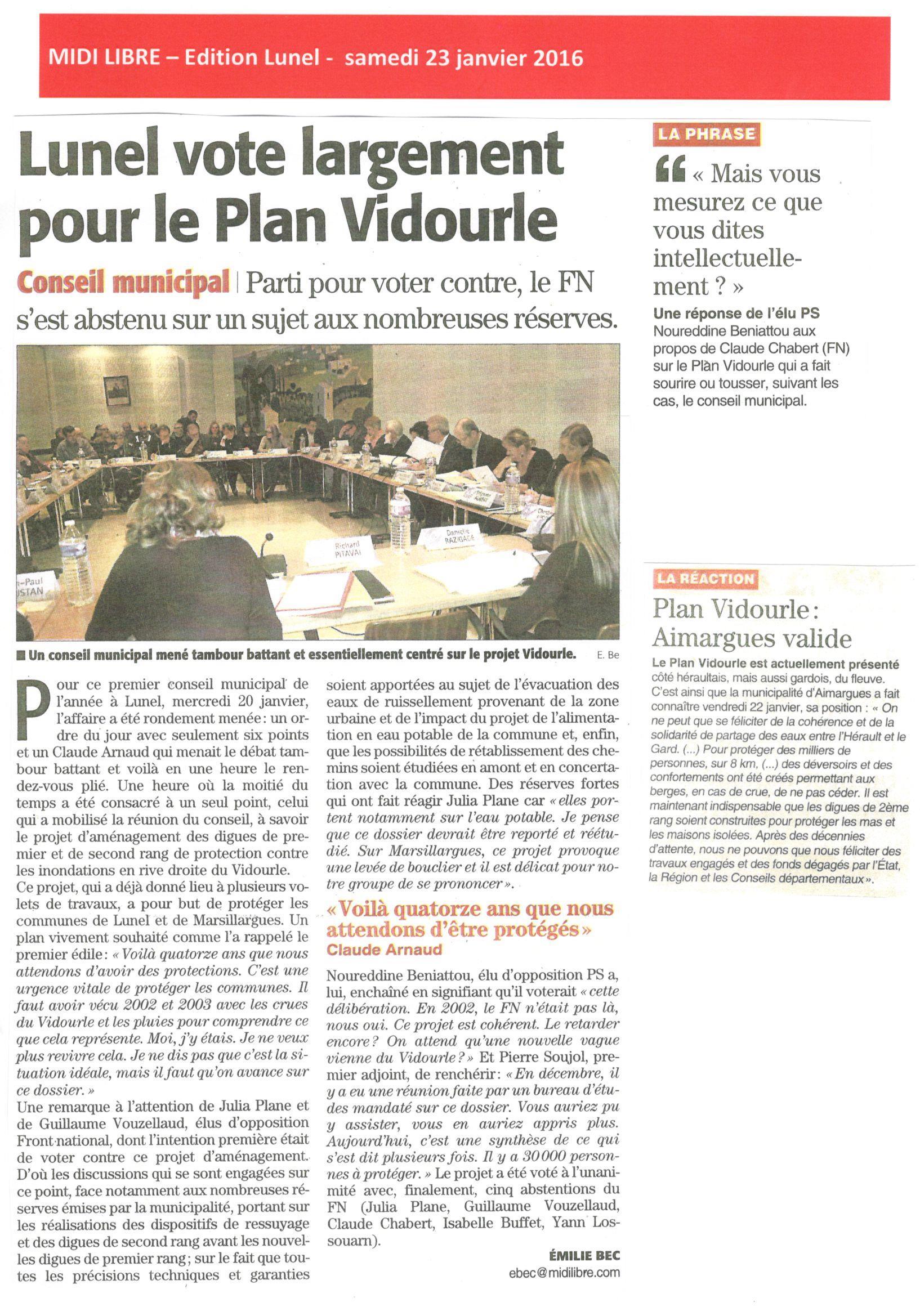 Lunel vote largement pour le Plan Vidourle