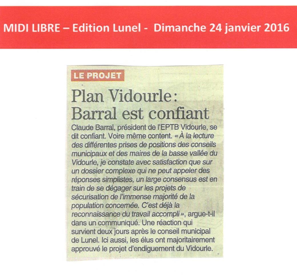 Plan Vidourle : Claude BARRAL, Président de l'EPTB est confiant