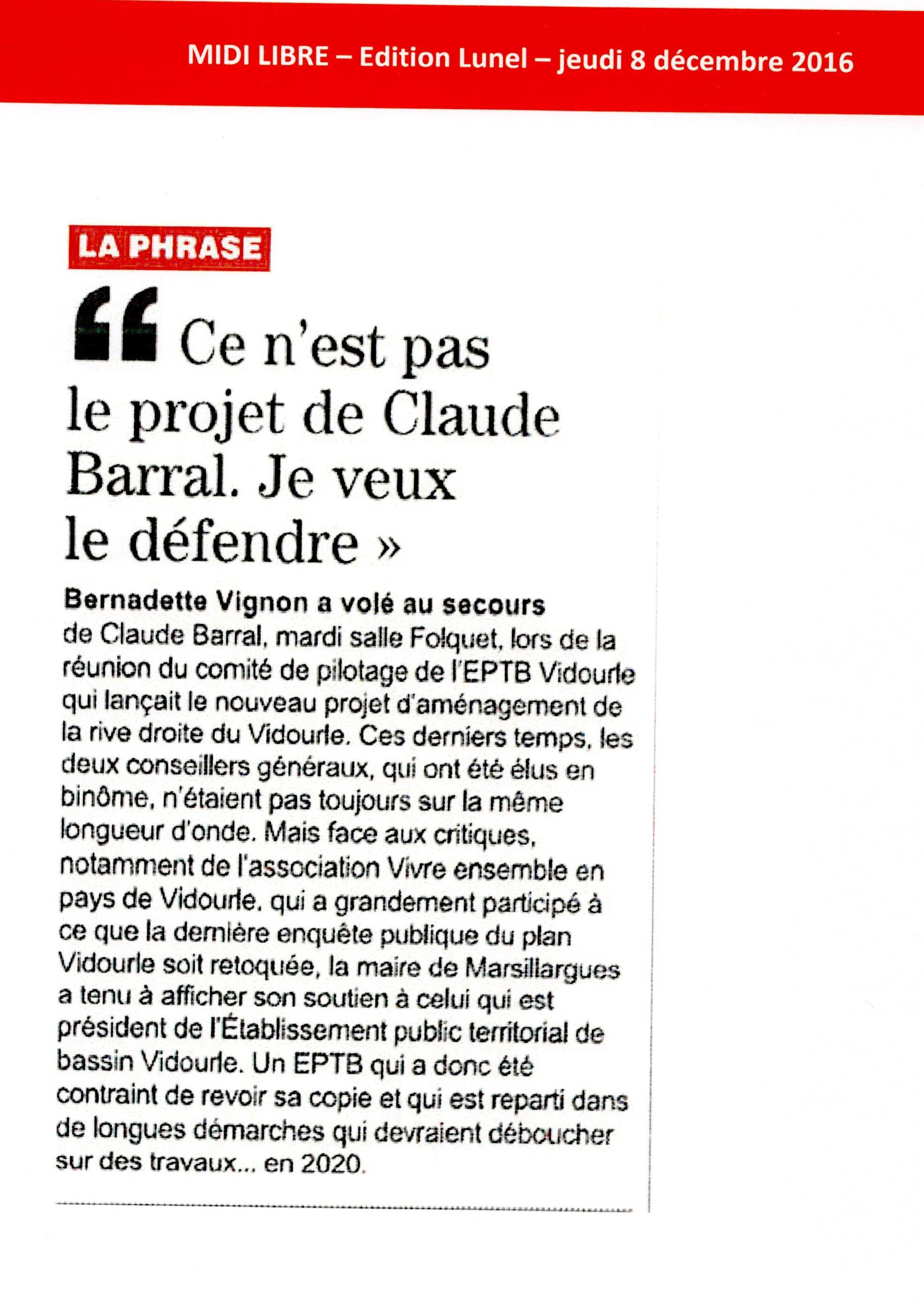 La Maire de Marsillargues affiche son soutien au Président de l'EPTB