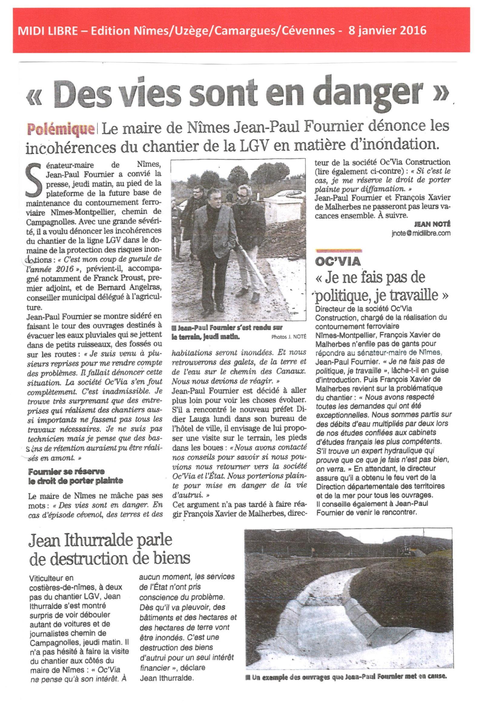 Le maire de Nîmes Jean-Paul Fournier dénonce les incohérences du chantier LGV en matière d'inondation