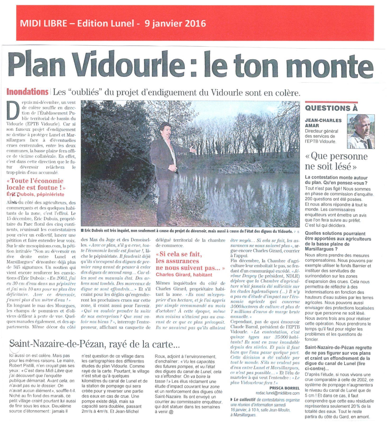 Plan Vidourle : questions à Jean-Charles AMAR, DGS de l'EPTB Vidourle sur le projet d'endiguement