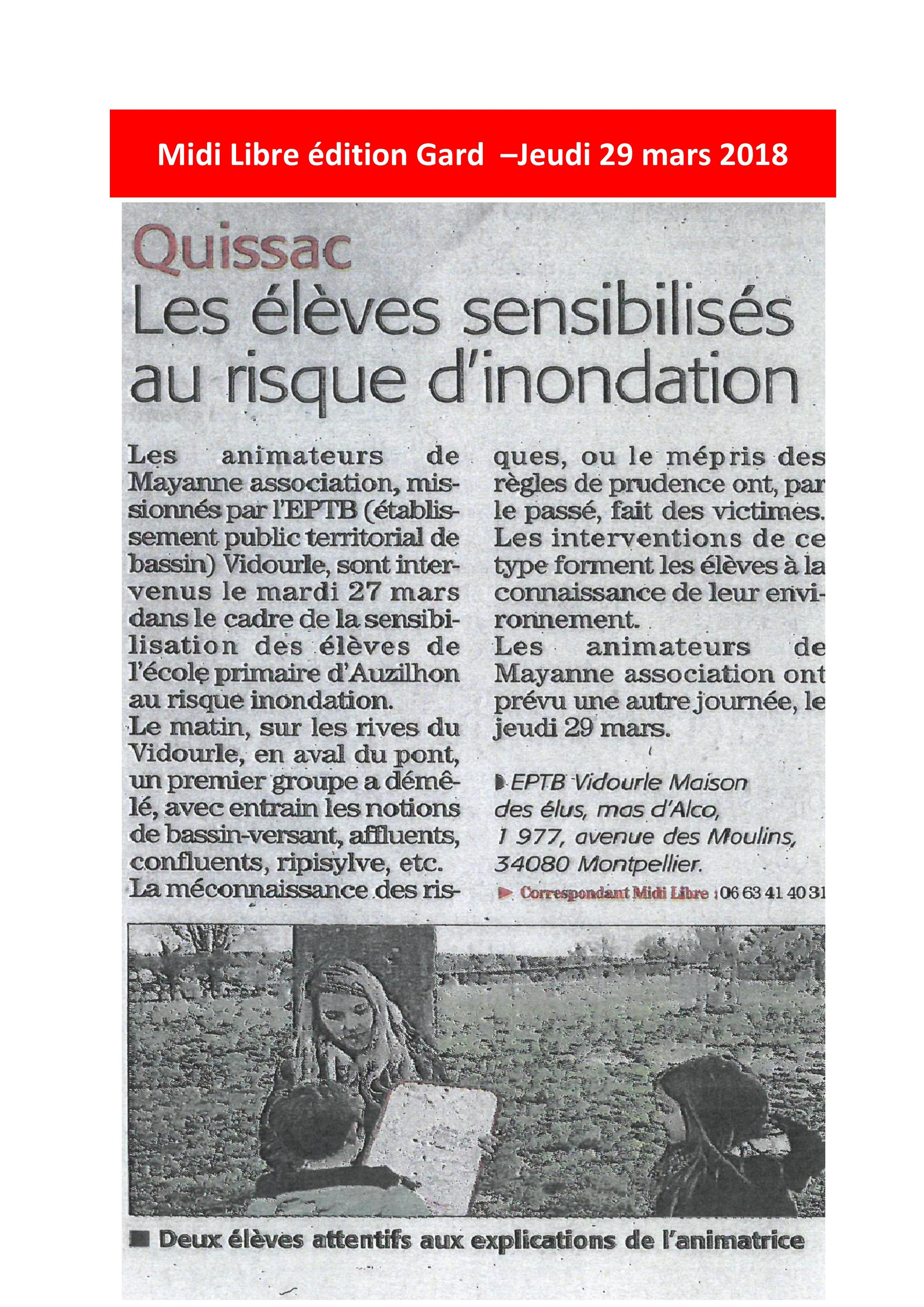 Intervention scolaire : les élèves de Quissac sensibilisés au risque inondation