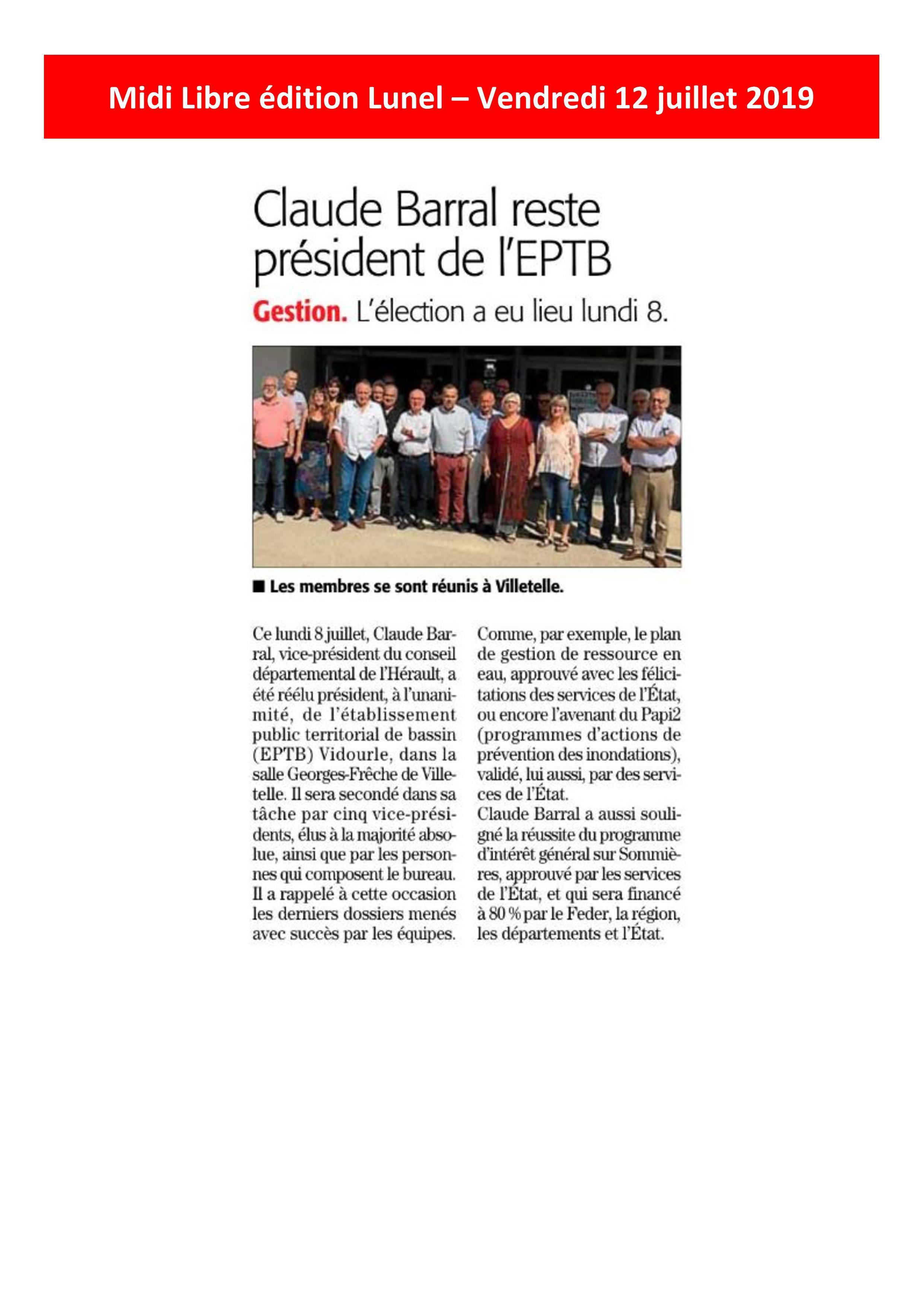 Claude BARRAL reste Président de l'EPTB Vidourle