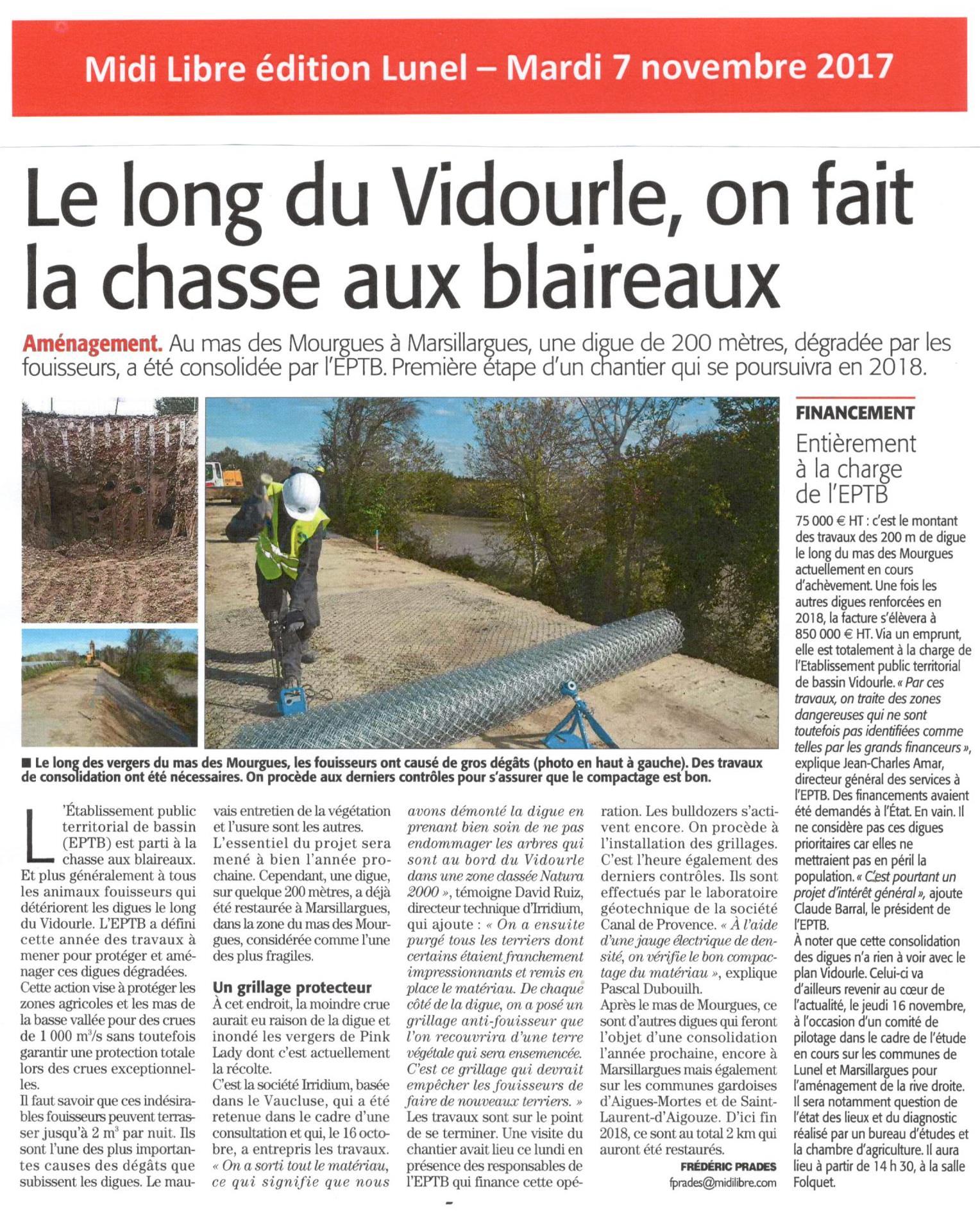 Marsillargues : l'EPTB du Vidourle consolide une digue de 200 mètres dégradée par les fouisseurs