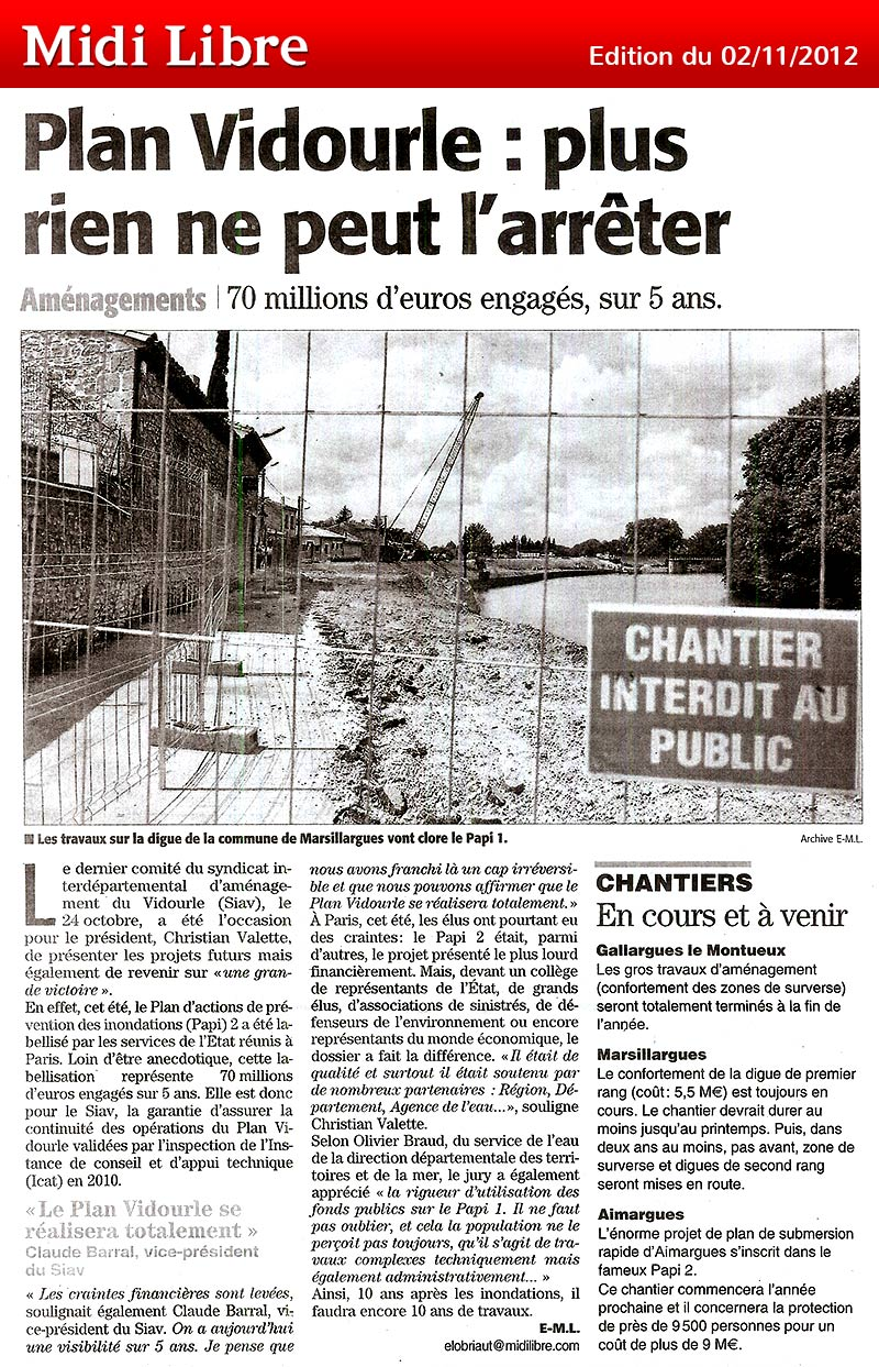 Midi Libre du 02/11/2012 – Plan Vidourle PAPI 2