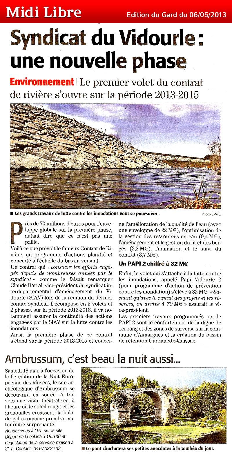 Midi Libre du 06/05/2013 – Syndicat du Vidourle