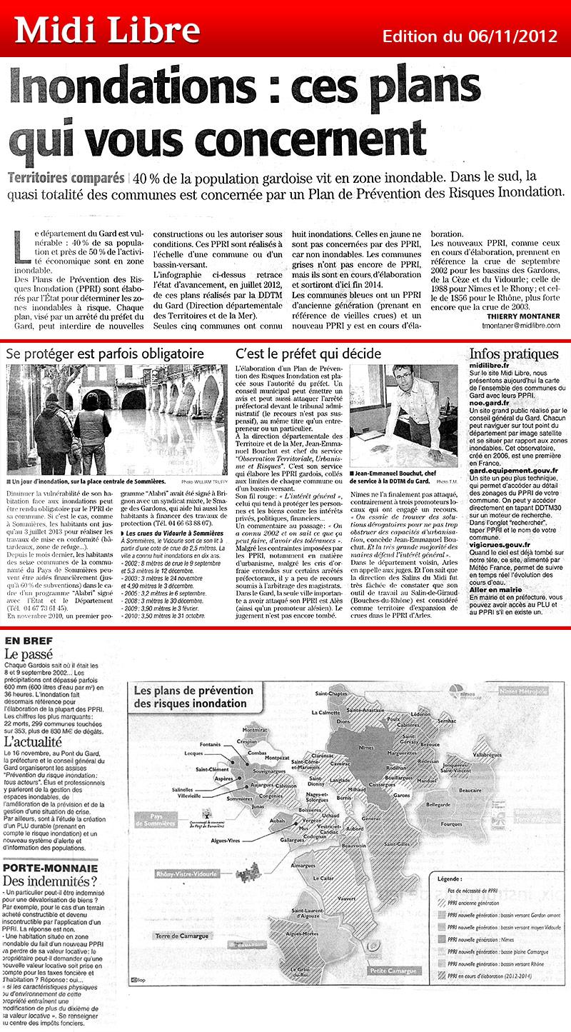 Midi Libre du 06/11/2012 – PPRI Gard