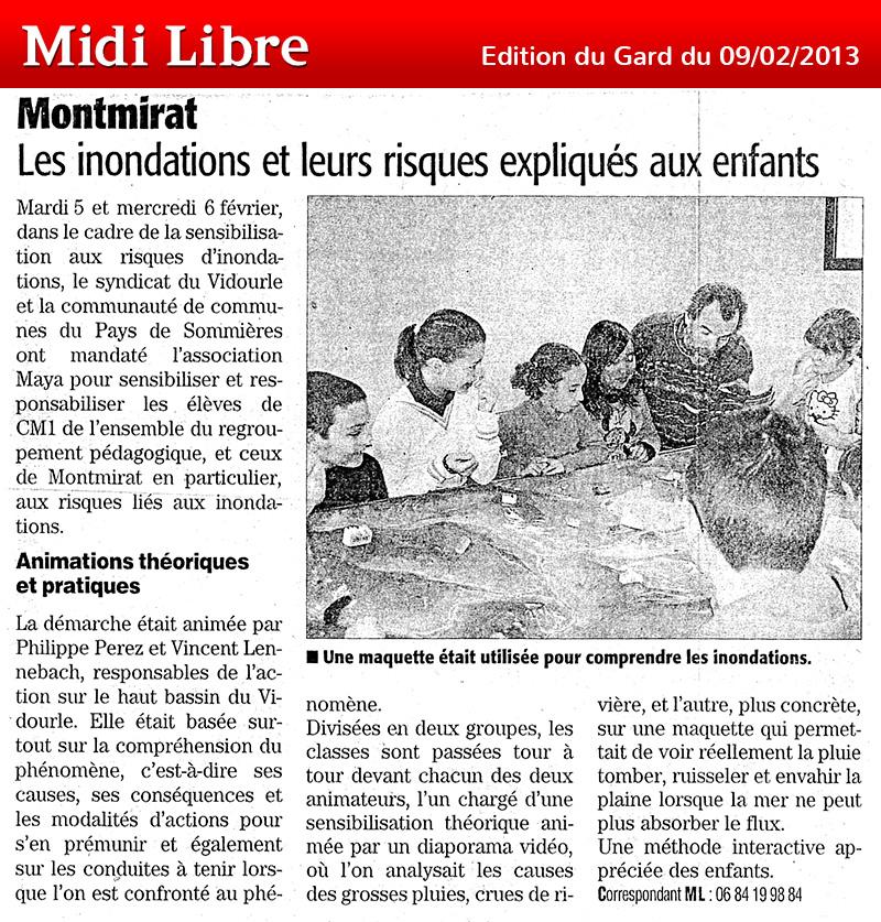 Midi Libre du 09/02/2013 – Sensibilisation scolaire à Montmirat