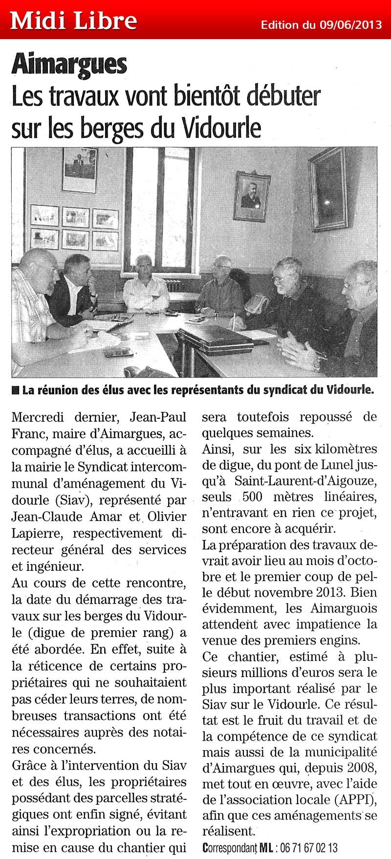 Midi Libre du 09/06/2013 – Lancement des travaux à Aimargues