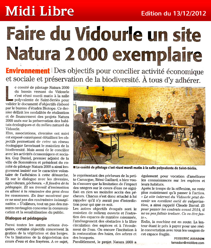 Midi Libre du 13/12/2012 – Natura 2000