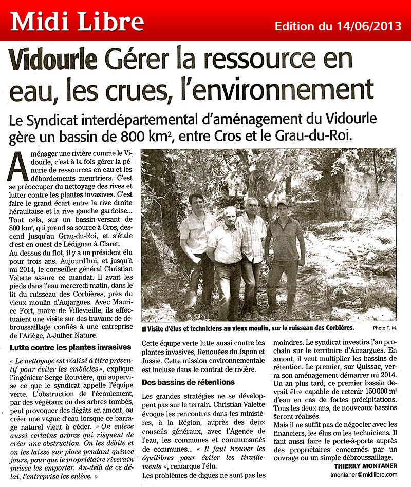Midi Libre du 14/06/2013 – Travaux de restauration forestière
