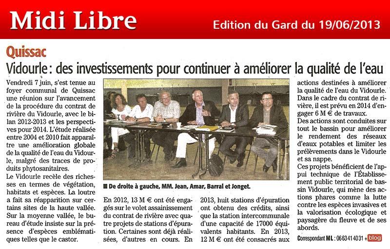 Midi Libre du 19/06/2013 – Contrat de rivière