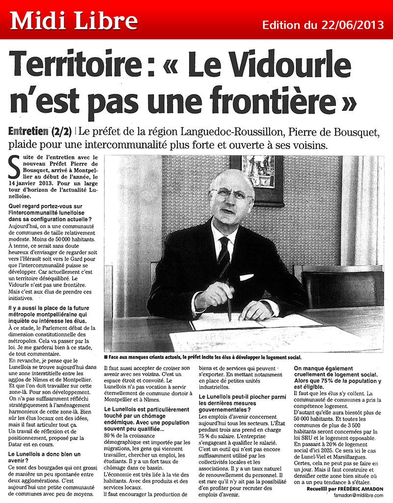 Midi Libre du 22/06/2013 – Entretien avec Pierre de Bousquet, préfet du Languedoc-Roussillon