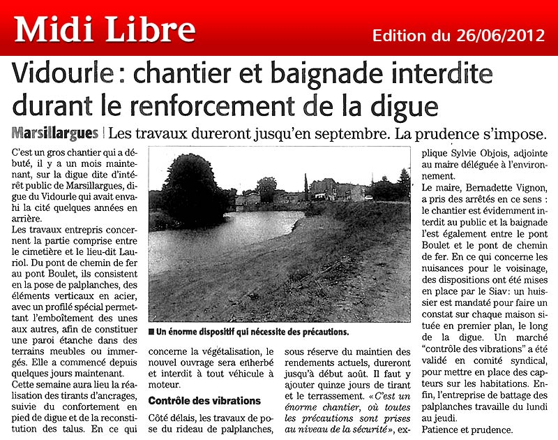 Midi Libre du 26/06/2012 – Digue Marsillargues