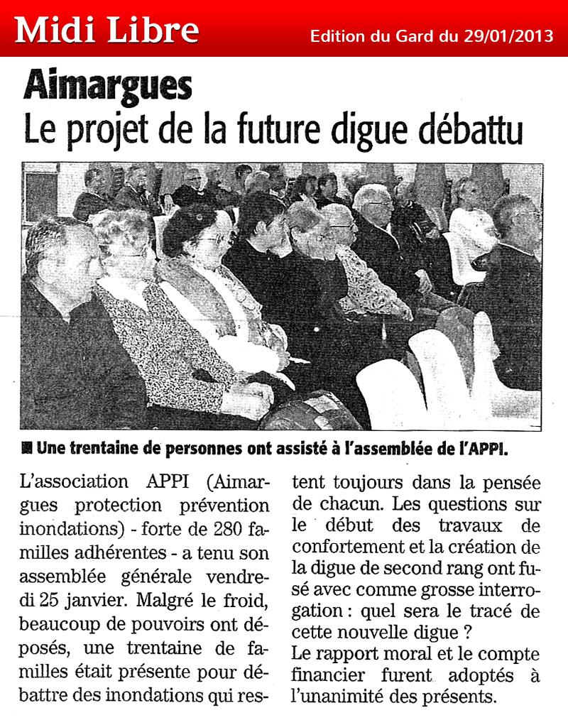 Midi Libre du 29/01/2013 – Aimargues