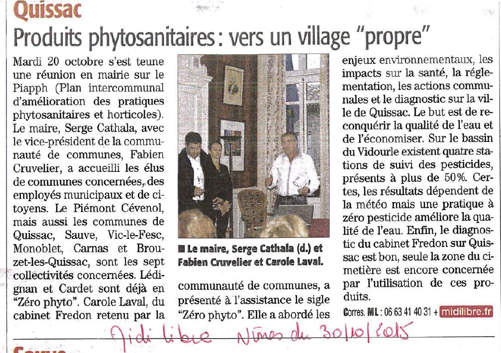 Réunion Publique sur le PIAPPH à Quissac