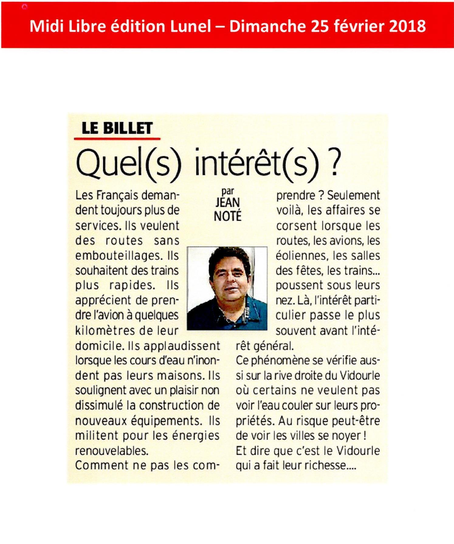 Le billet de Jean NOTE : Les aménagements de la rive droite : intérêts privés contre l'intérêt collectif.