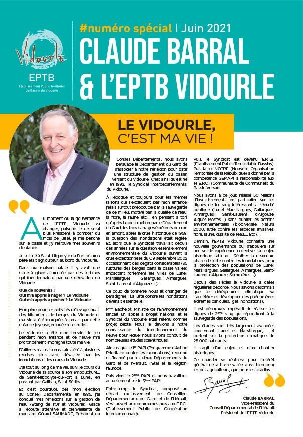 Numéro spécial : Claude BARRAL et l'EPTB Vidourle