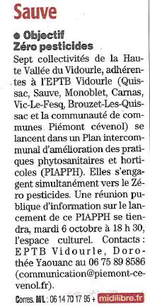 Objectif zéro pesticides : le lancement des réunions publiques du PIAPPH Piémont cévenol