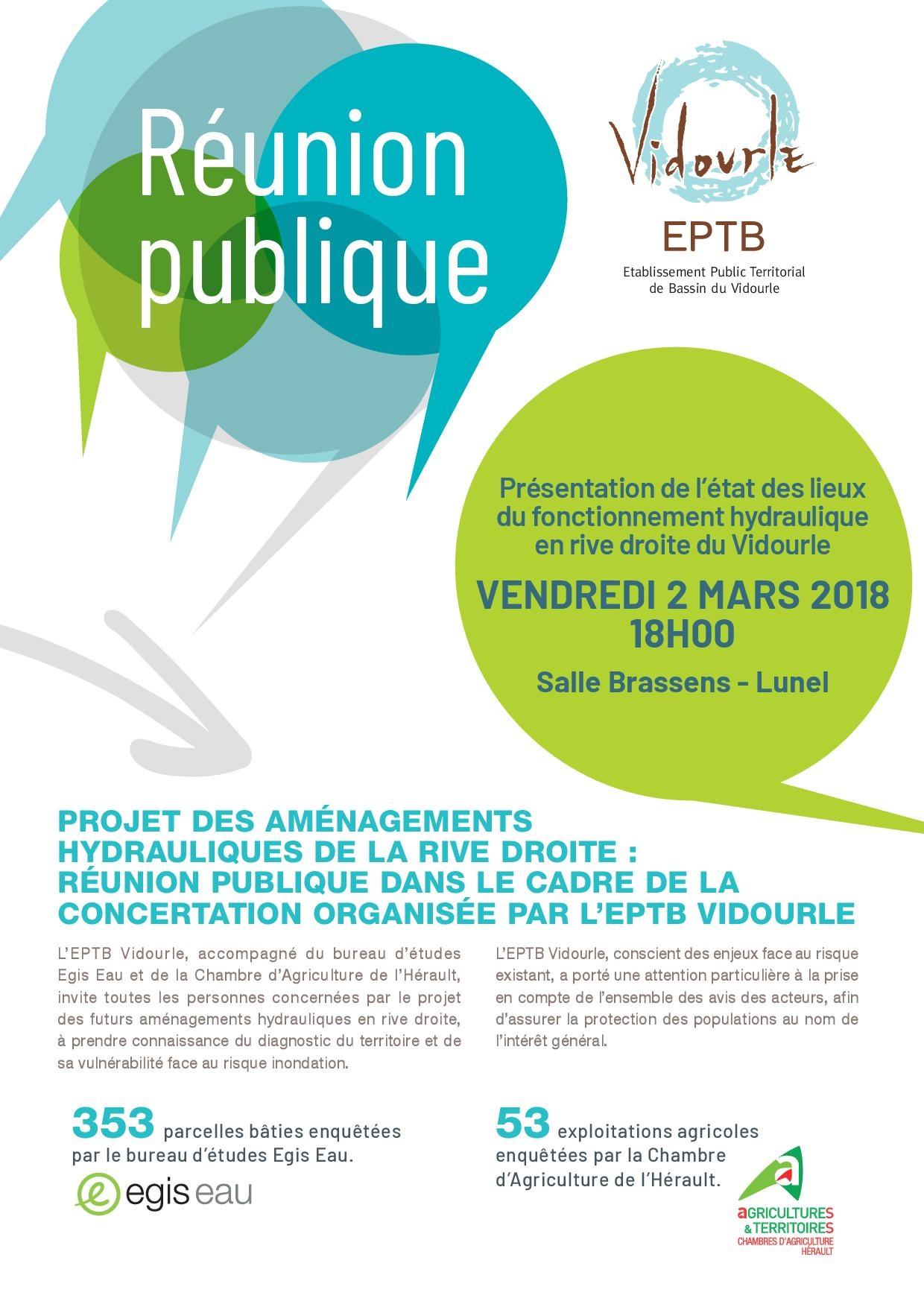 Vendredi 2 mars 2018 – Réunion publique : projet des aménagements hydrauliques de la rive droite
