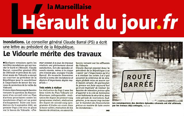 Claude Barral écrit au Président de la République : la réalisation des 3 volets Plan Vidourle est désormais indispensable