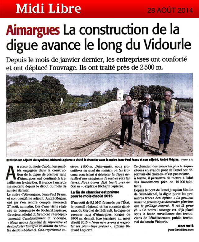 La construction de la digue avance le long du Vidourle à Aimargues