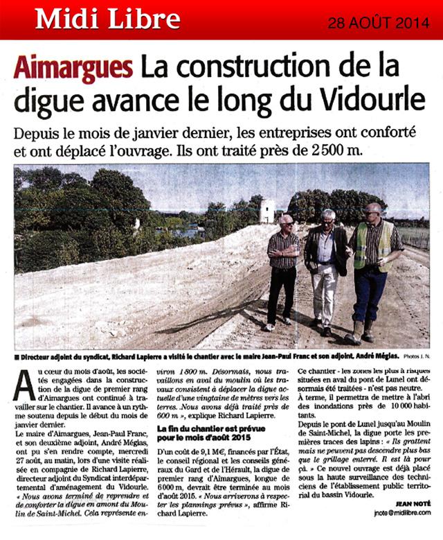 La construction de la digue avance le long du Vidourle à Aimargues