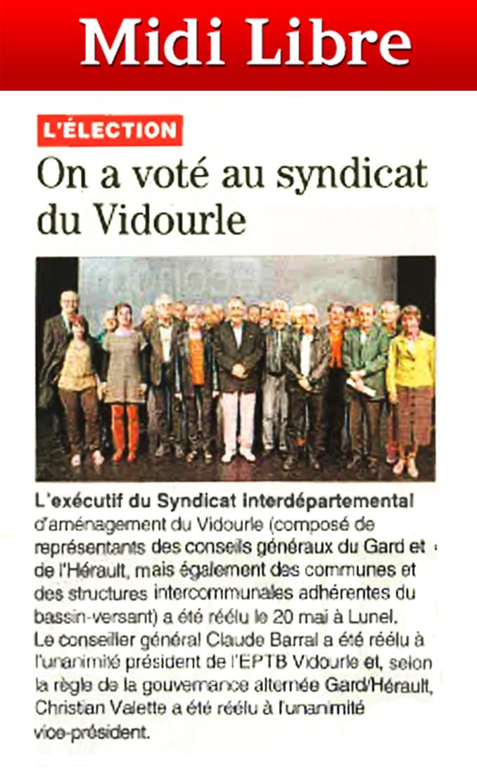 20 mai 2014 : Assemblée générale de L'EPTB Vidourle