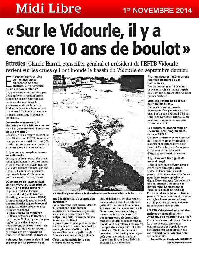 Claude Barral, Président de l'EPTB Vidourle revient sur les crues de septembre 2014 : bilan et conséquences